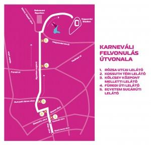A Debreceni Virágkarnevál felvonulási útvonala